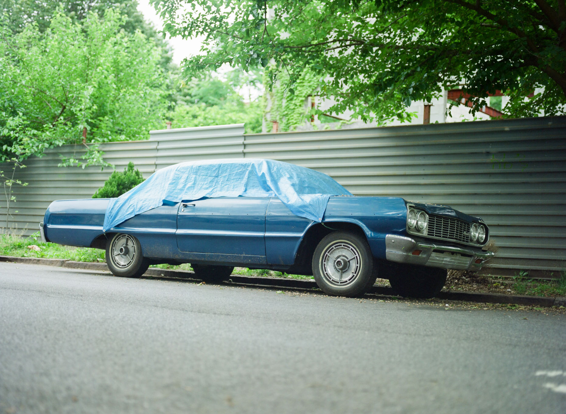 A blue classic vintage car sits under tarp on a street in Ditmas Park in Brooklyn, NY.