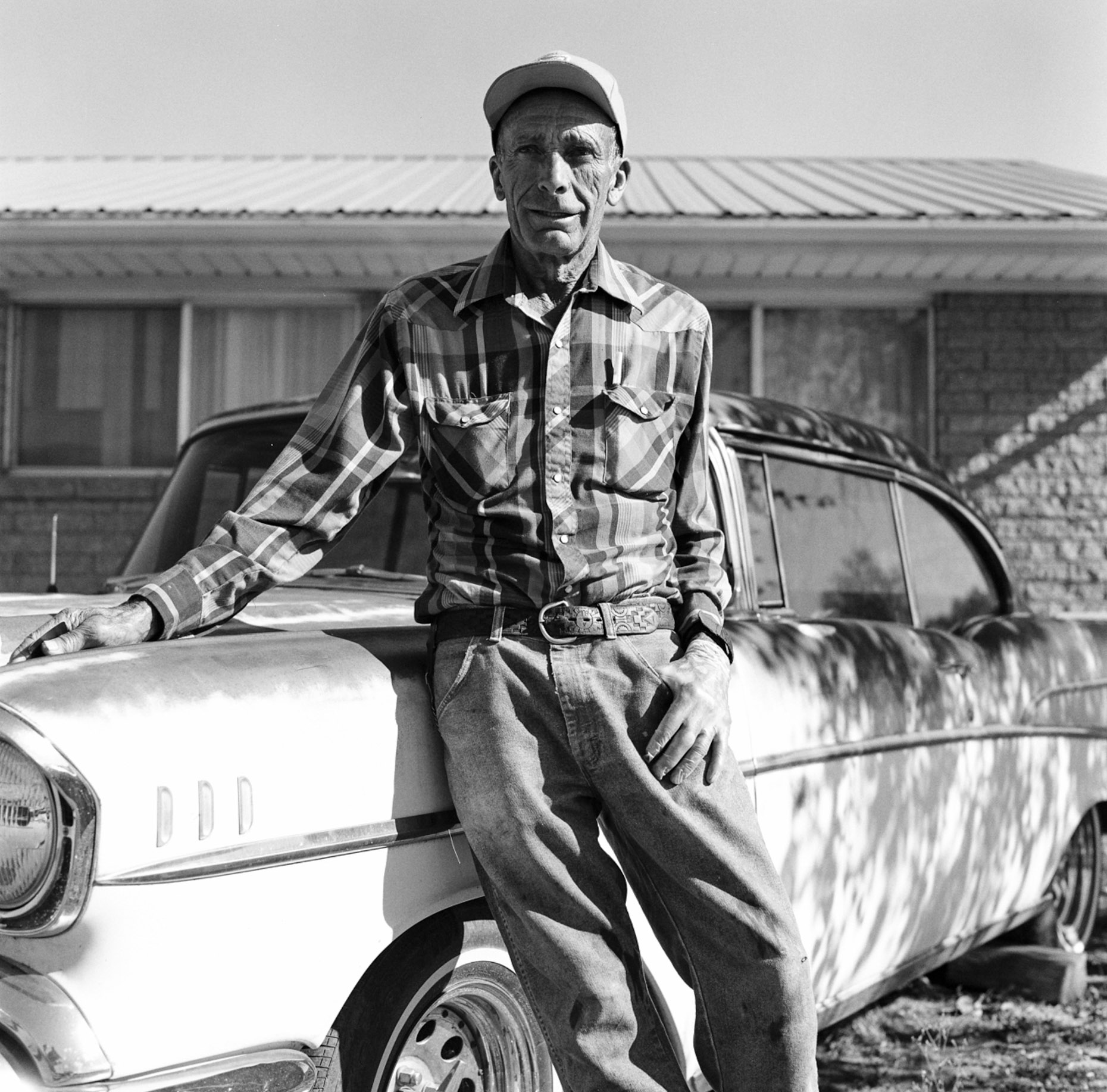 Black and White portrait of vintage car restorer Bill Spencer, Utah