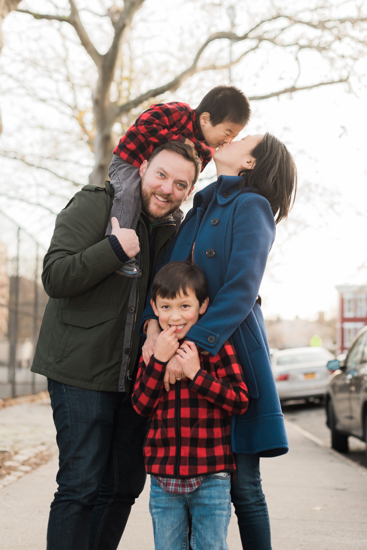 Family Portrait of Iris, Mike and Children in Brooklyn, New York City.