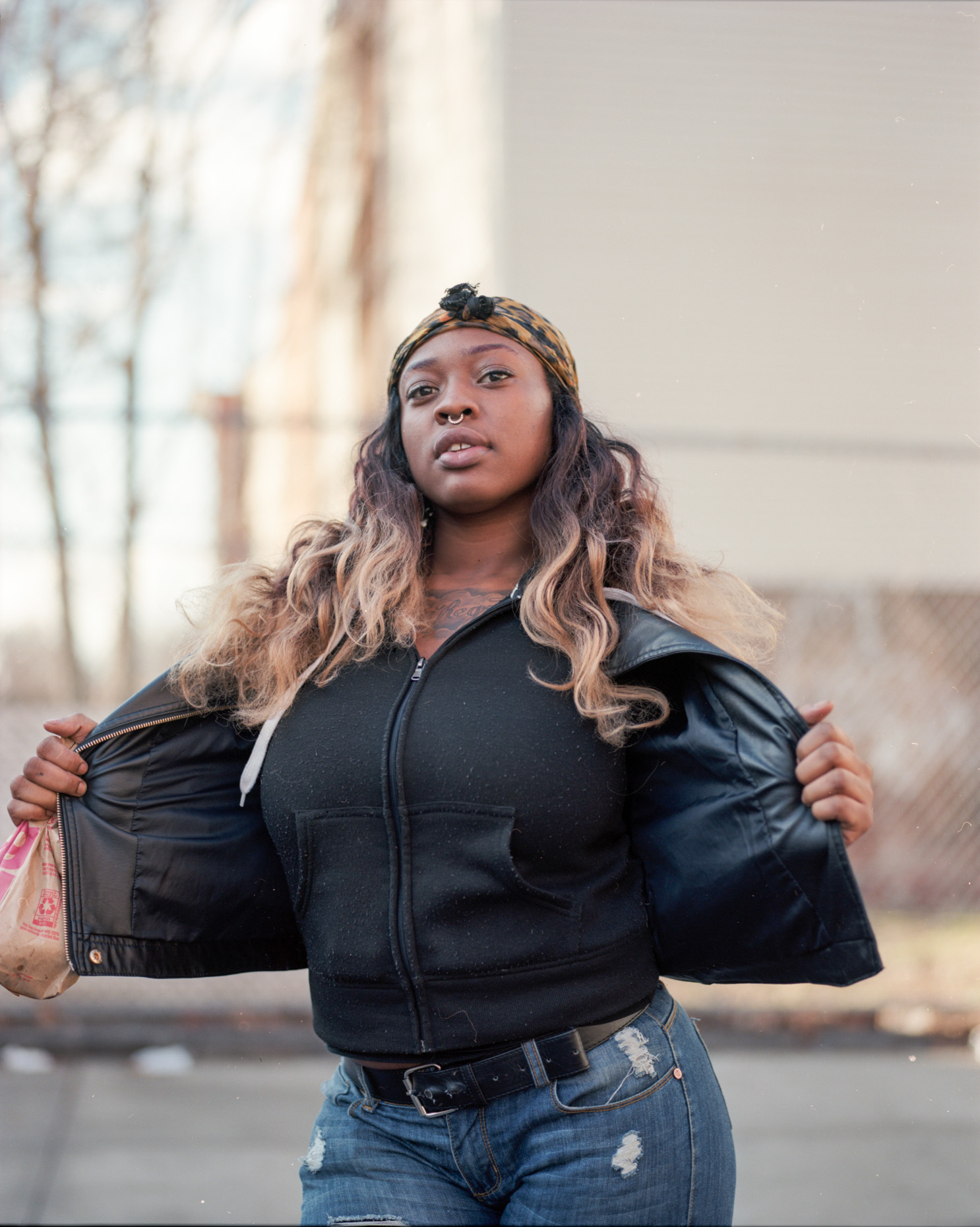 Color Portrait of a young female in Crown Heights Brooklyn, New York.