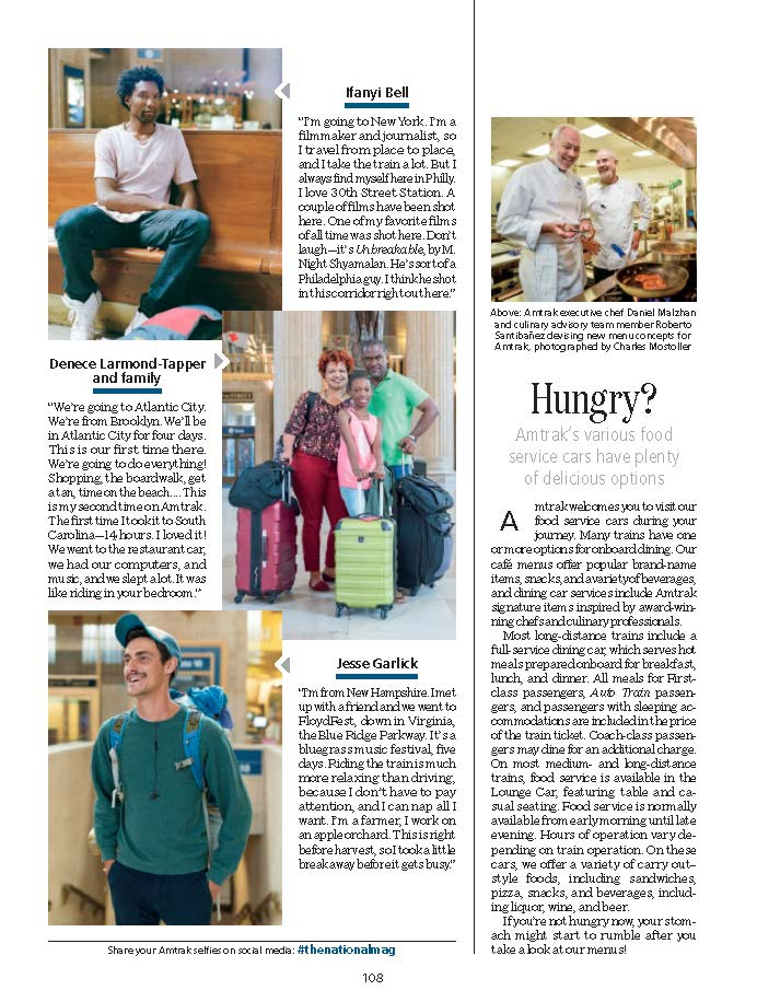 Cut-out of the National Magazine featuring my portraits of travelers going through Philadelphia Station. USA.