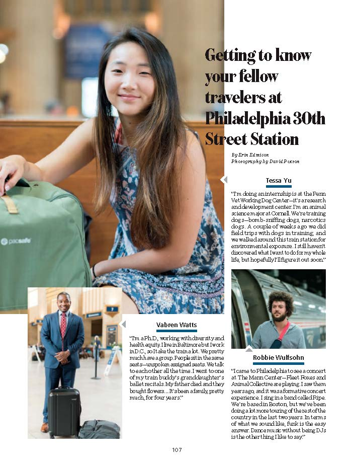 Cut-out of the National Magazine featuring my portraits of travelers going through Philadelphia Station.
