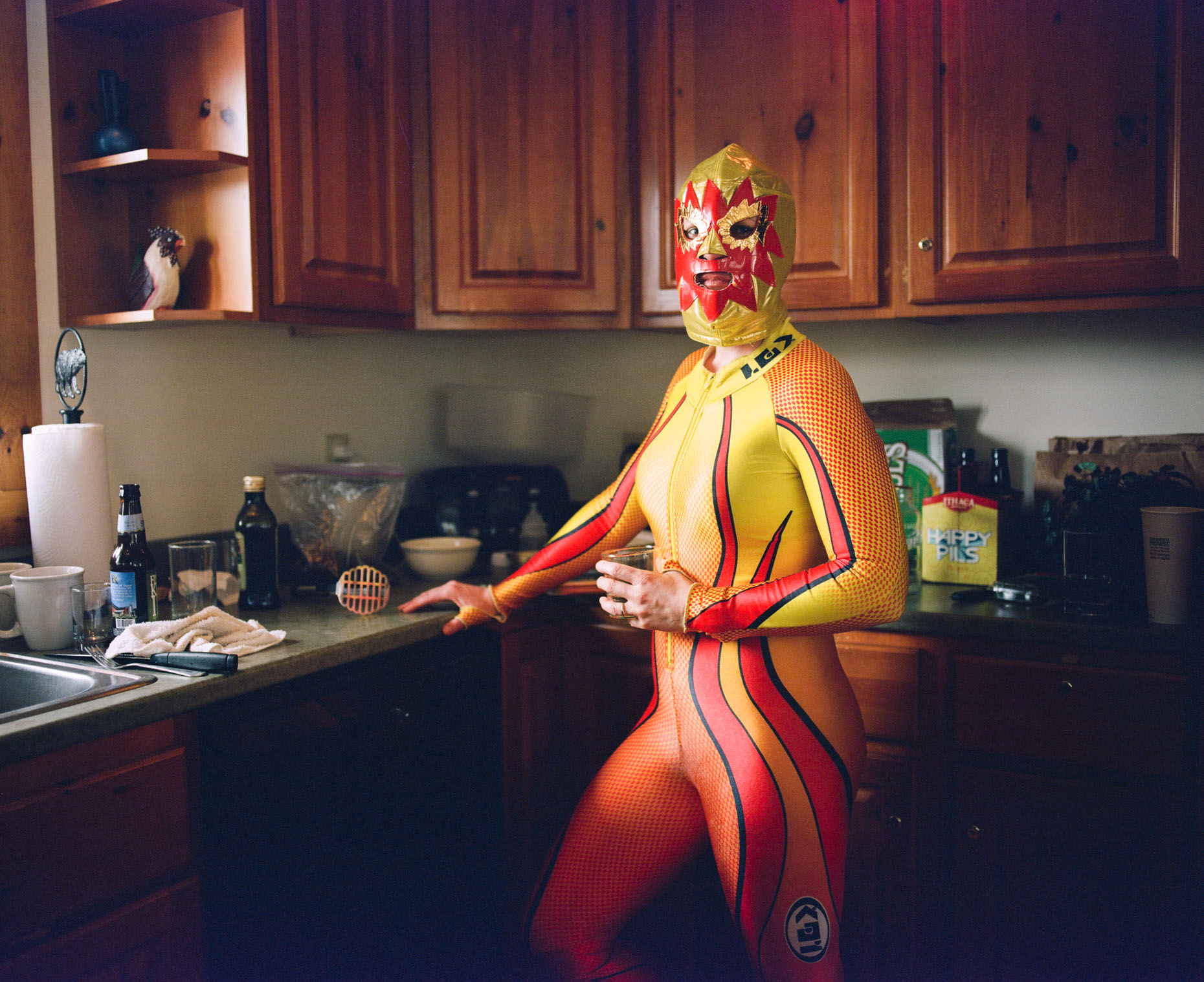 Val Von Zuben poses for me in her Lucha Libre mask in the kitchen of a ski-rental in April 2017