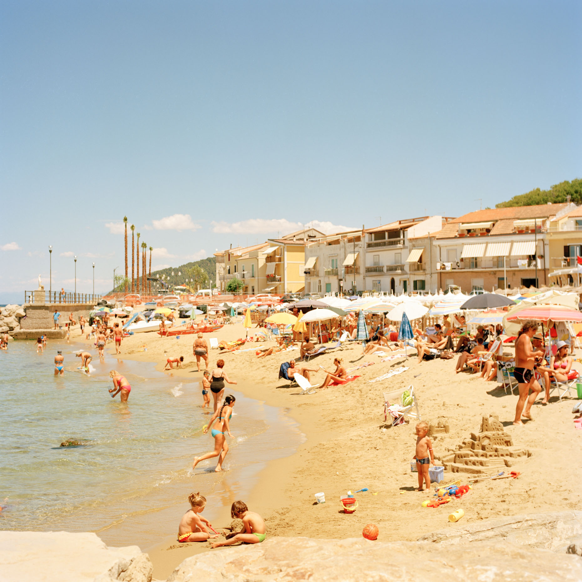 Bathers relax on a hot July in santa maria di castellabate, Italy, 6x6, film, hasselblad, color, ektar