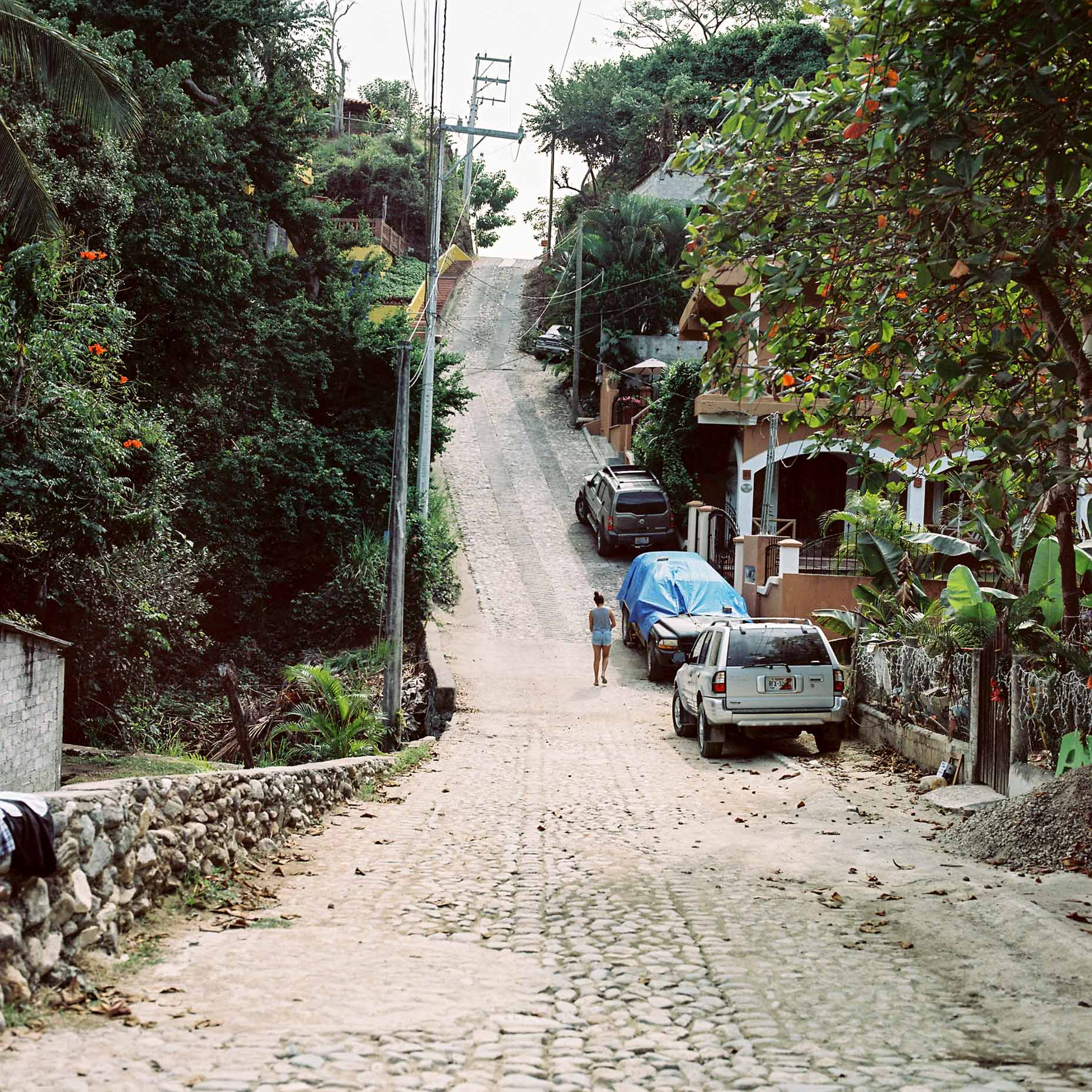 A street in Sayulita Nayarit. Mecico. A sleepy surf town popular with tourists and surfers.