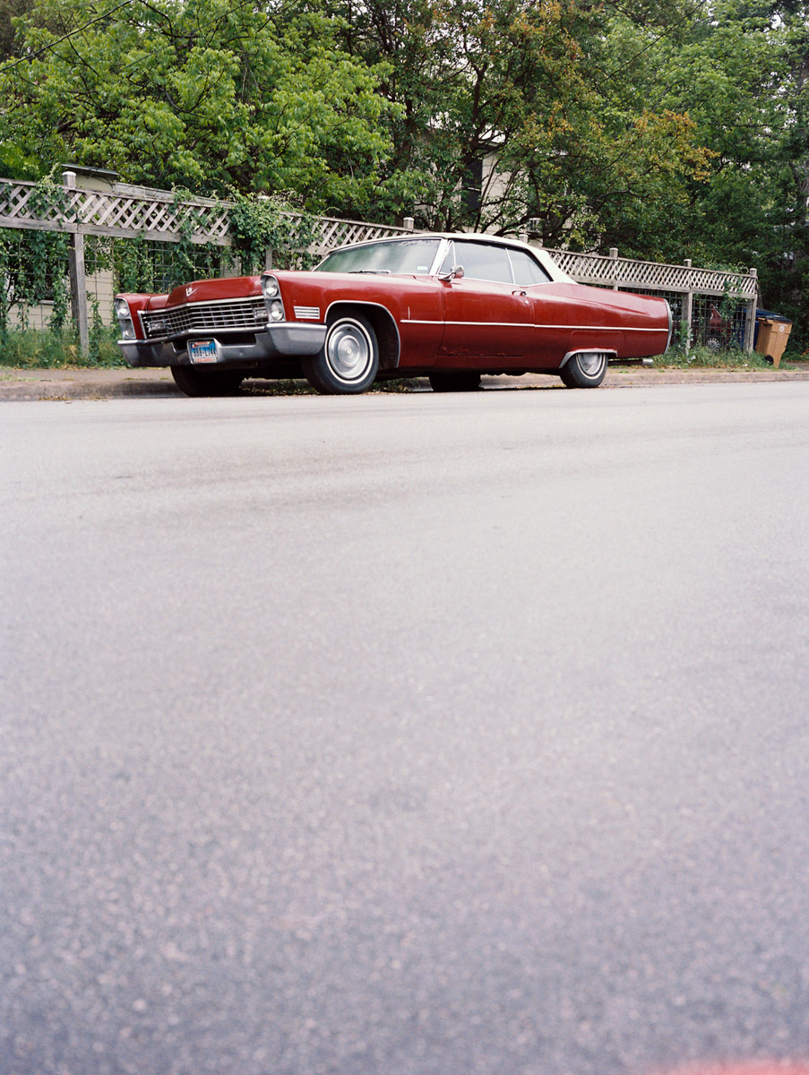 A right red vintage car in Austin, Texas